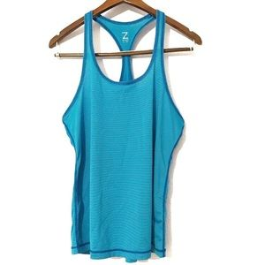 Z By Zella Blue Striped Oversized Workout Tank M